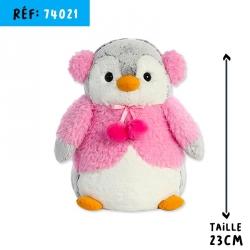 POMPOM PINGOUIN ROSE 23CM***